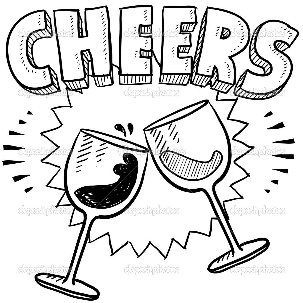 1024x1024 Cheers Wine Glass Toast Sketch Stock Vector Lhfgraphics