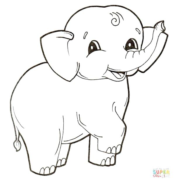 602x628 Elephant Coloring Pages Baby Elephant Drawing For Kids Elephant