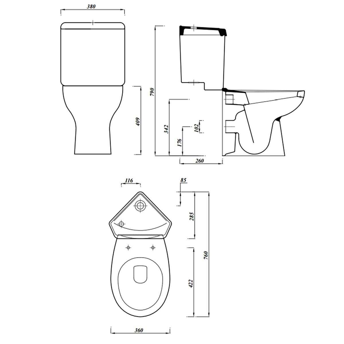 1200x1200 Lecico Laguna Close Coupled Corner Toilet With Soft Close Seat