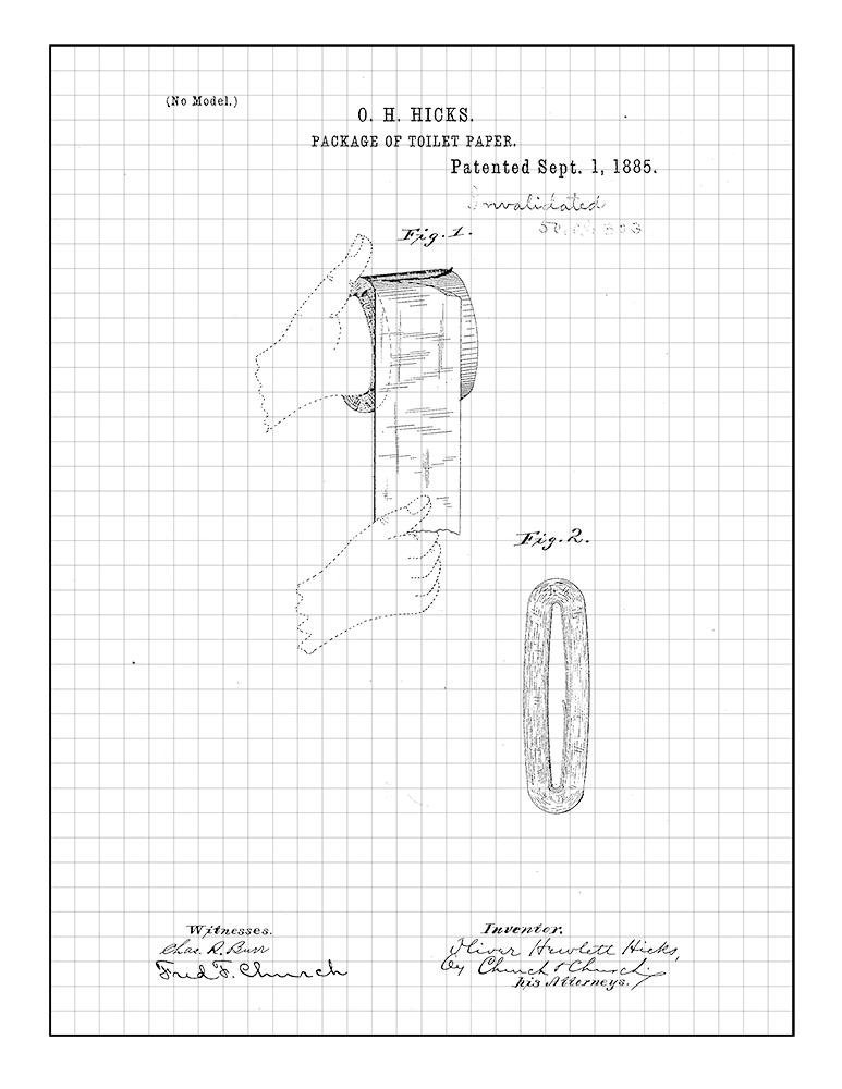 773x1000 Package Of Toilet Paper Patent Print Art Poster Blue