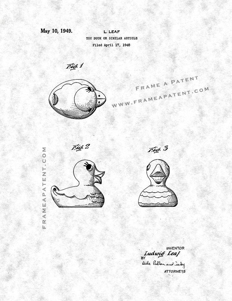 773x1000 Rubber Duck Patent Print Poster Item 12578 Frame A Patent