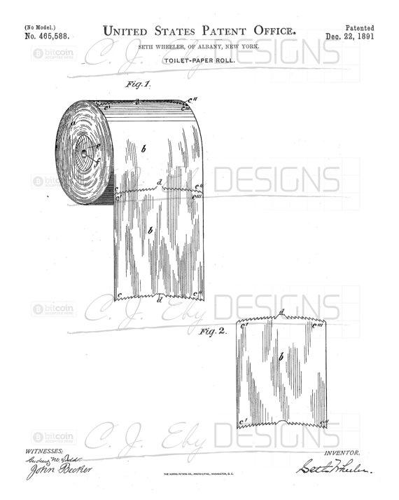 570x713 1891 Original Toilet Paper Roll Patent