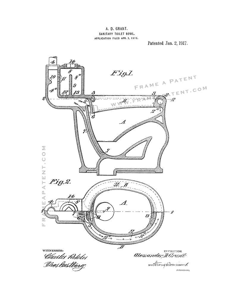 773x1000 Sanitary Toilet Bowl Patent Print Poster Item 12189 Frame A Patent