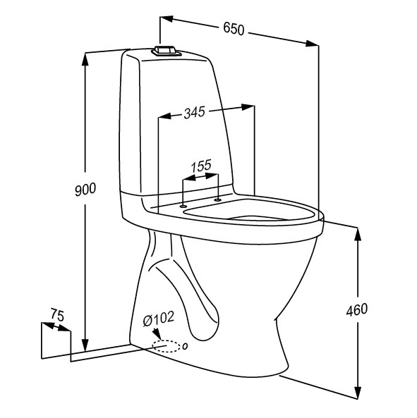 591x593 Floor Standing Toilet With S Trap, Extra High