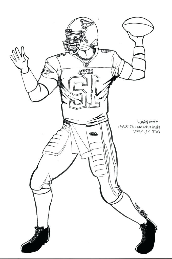 Tom Brady coloring page with American Football player | 1024x680