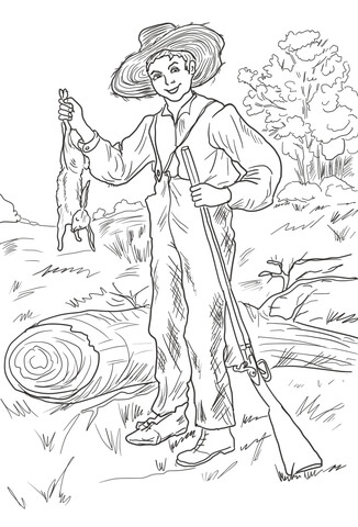 326x480 Huckleberry Finn With Rabbit Coloring Page Free Printable