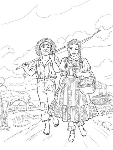 361x480 Tom Sawyer And Amy Lawrence Coloring Page Free Printable