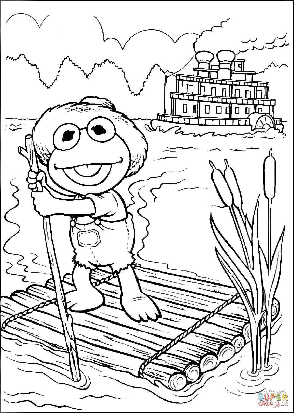 1133x1588 Baby Kermit As Tom Sawyer On A Raft Coloring Page Free Printable