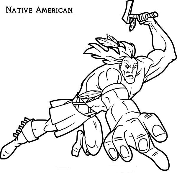 600x587 Native American Attacking With Tomahawk On Native American Day