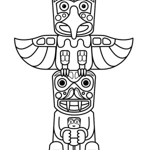 300x300 Native American Totem And Tomahawk On Native American Day Coloring