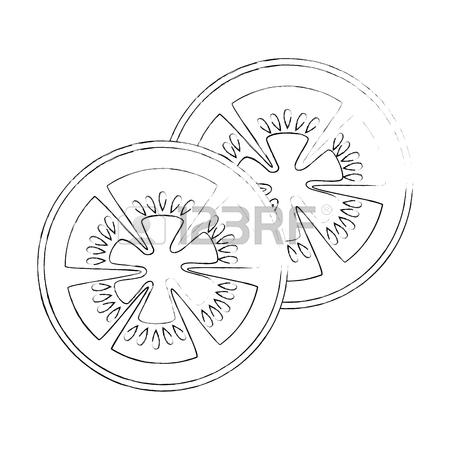 450x450 Tomato Slice Icon Over White Background Vector Illustration