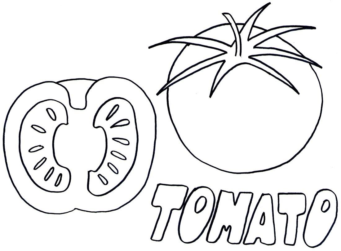 1100x810 Drawn Tomato Coloring Page