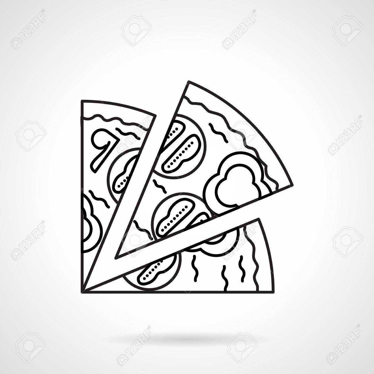1300x1300 Flat Black Line Vector Icon For Pizza Slices With Mushrooms