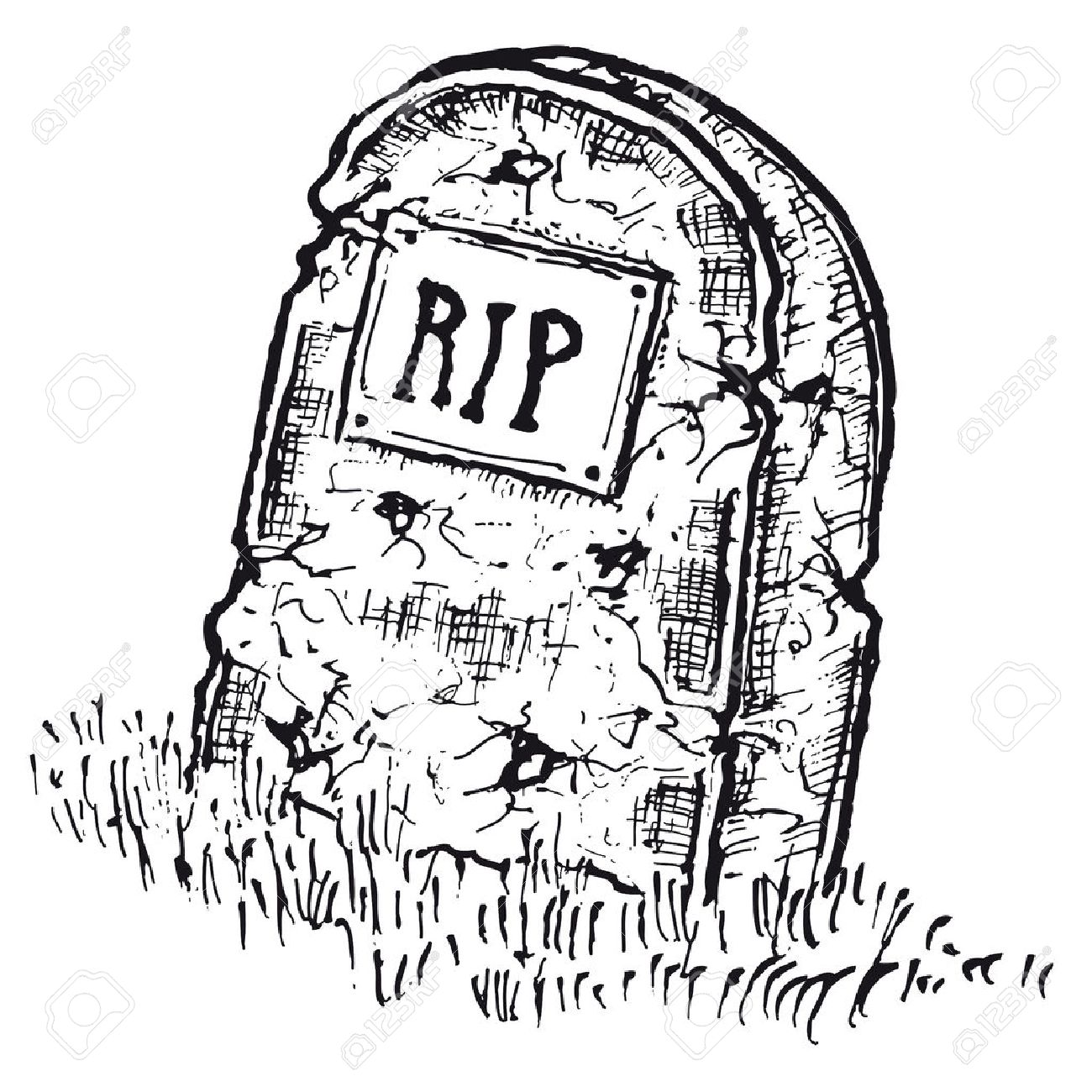 1300x1300 Illustration Of Hand Drawn Isolated Tombstone With Rip Inscription