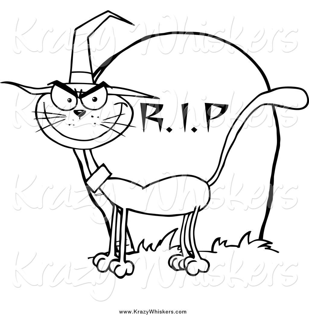 1024x1044 Critter Clipart Of A Lineart Halloween Witch Cat By A Tombstone By