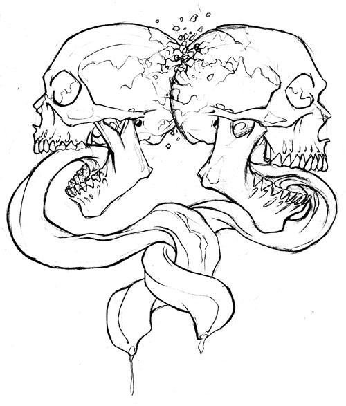 500x587 Skulls And Tongues Colette Butfiloski