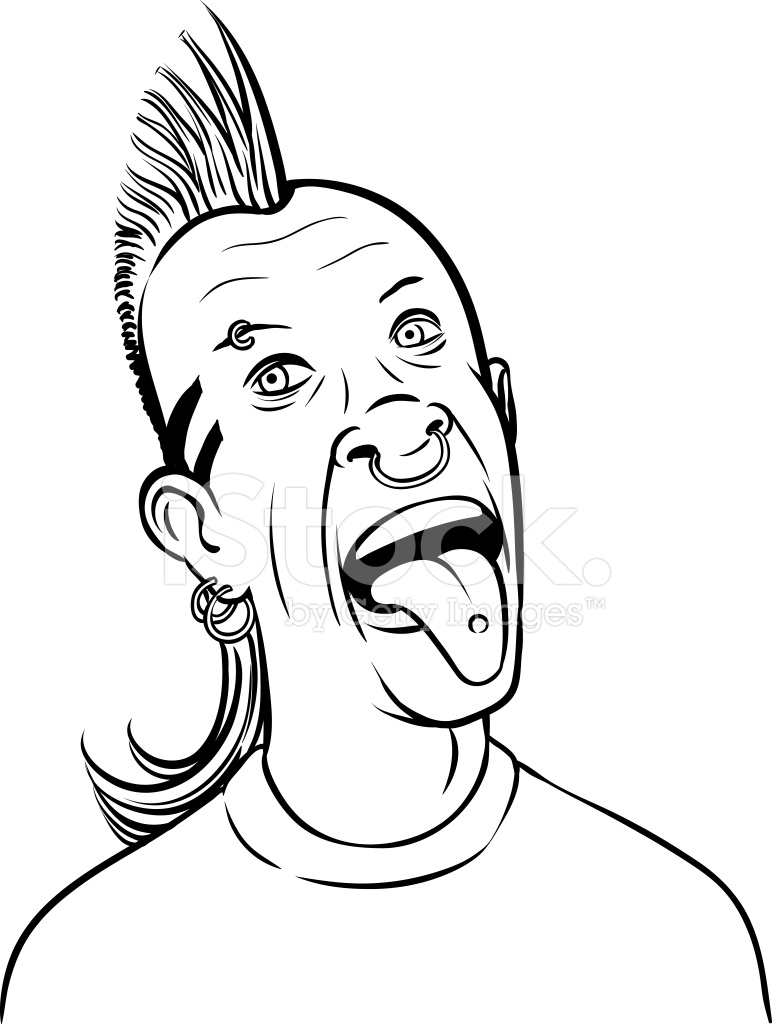 772x1024 Whiteboard Drawing Grimacing Punk Tongue Out Stock Vector