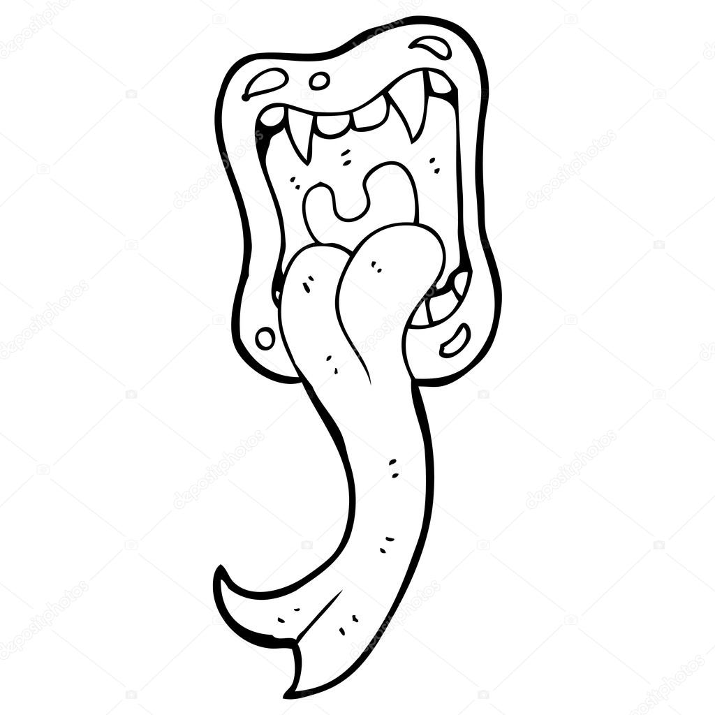 1024x1024 Wide Open Mouth With Lizard Tongue Cartoon Stock Vector