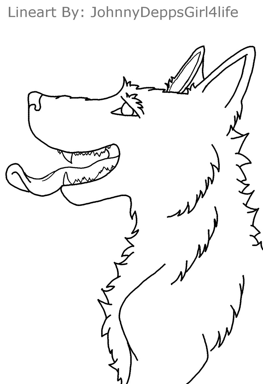 900x1314 Wolf Tongue Out Lineart By Johnnydeppsgirl4life