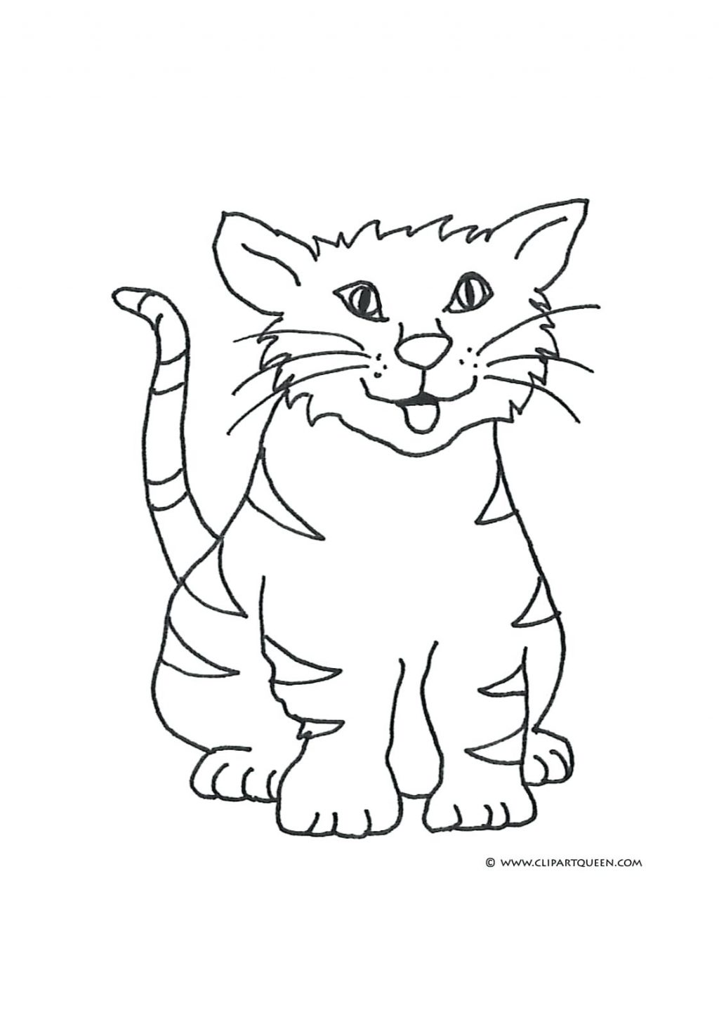 1024x1455 Coloring Page ~ Coloring Pages Cat Happy Tongue In The Hat Online