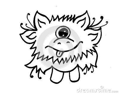 400x315 Little Playful Monster With Funny Face, Tongue Out Of A Mouth, Big