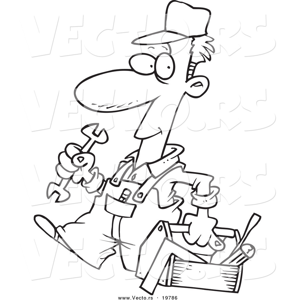 1024x1044 Vector Of A Cartoon Repair Man Carrying Tool Box