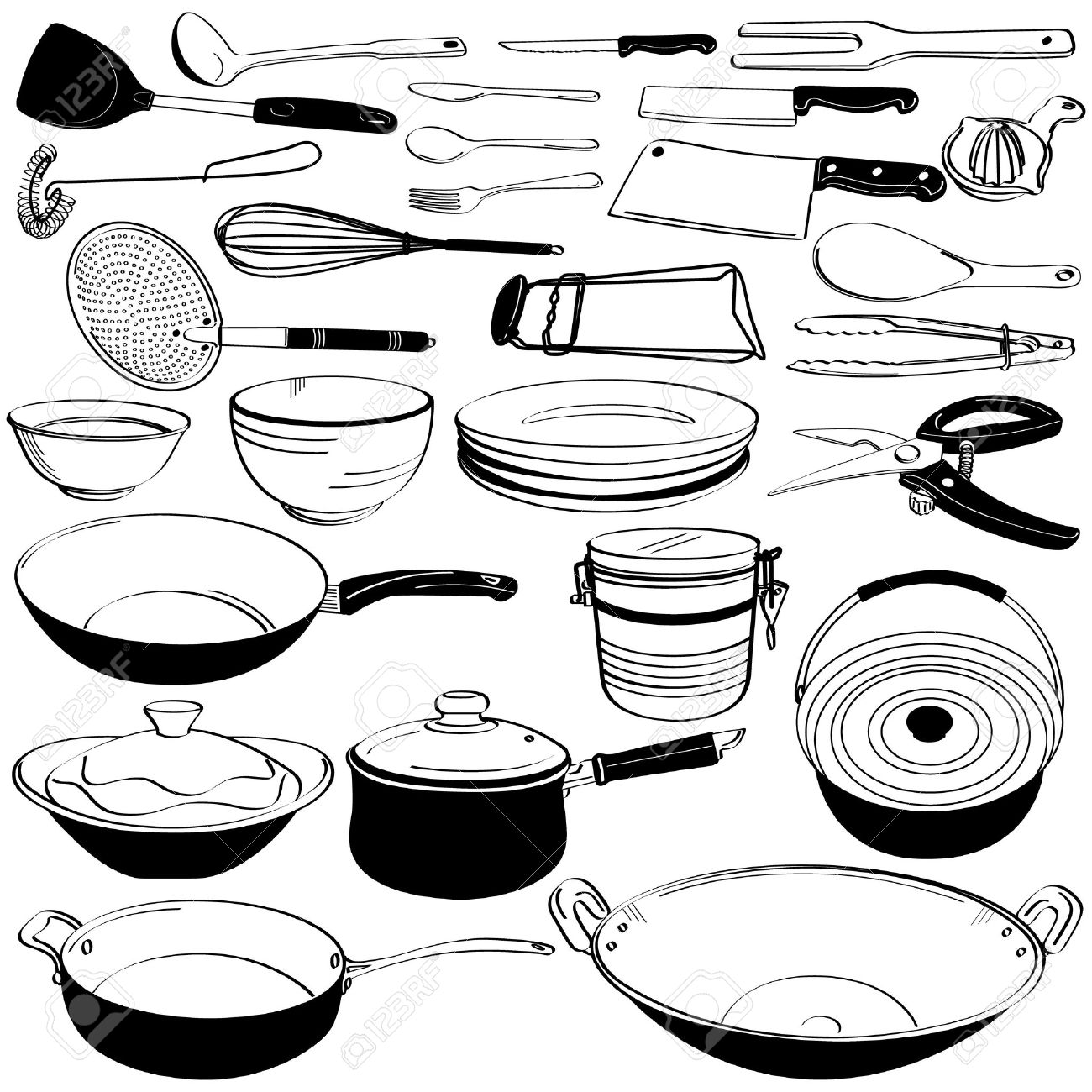 1300x1300 Kitchen Tool Utensil Equipment Doodle Drawing Sketch Royalty Free