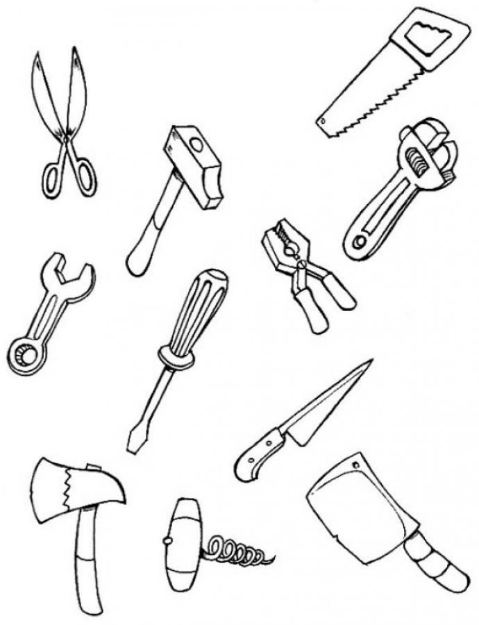 690x900 Tool Coloring Pages For Kids Carpenter Coloring Pages