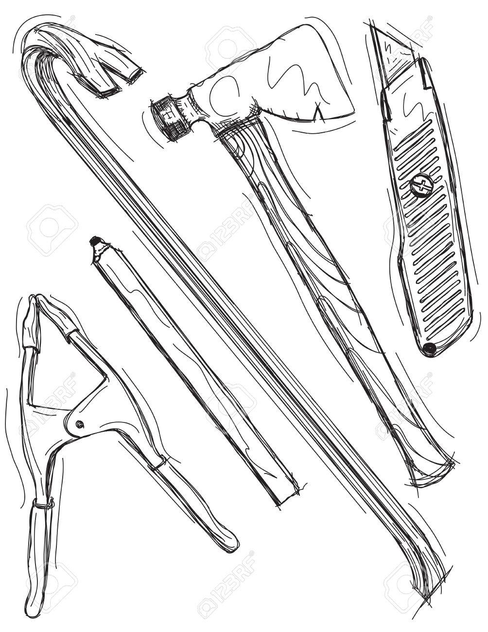1004x1300 Construction Tool Drawings Royalty Free Cliparts, Vectors,