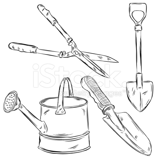 556x556 Detailed Drawings Of Gardening Tools, All Elements Are In Separate