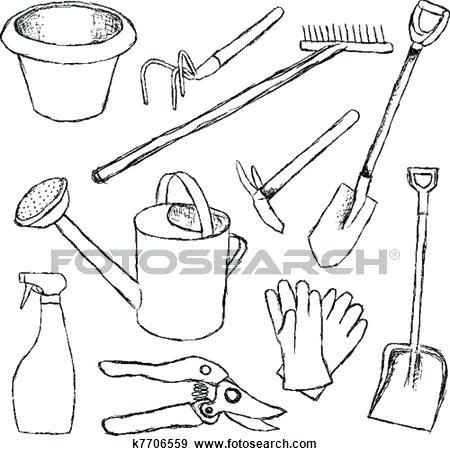 450x456 Drawing Of Garden Tools Gardening Tools Clip Art Drawing Garden