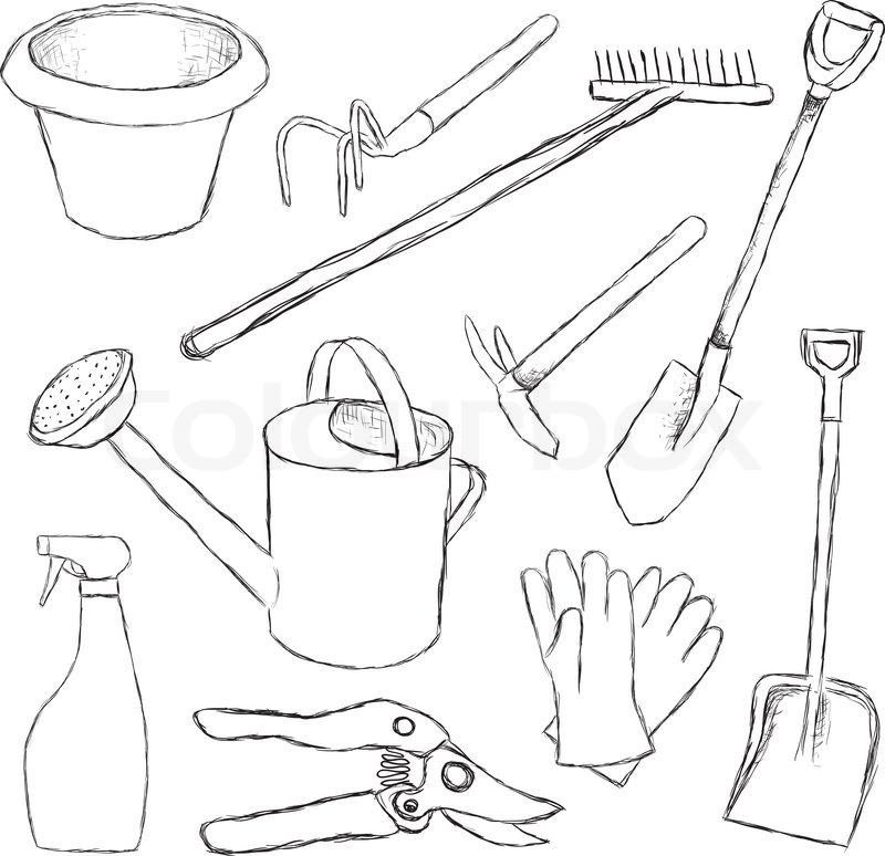 800x774 Garden Tools Stock Vector Colourbox