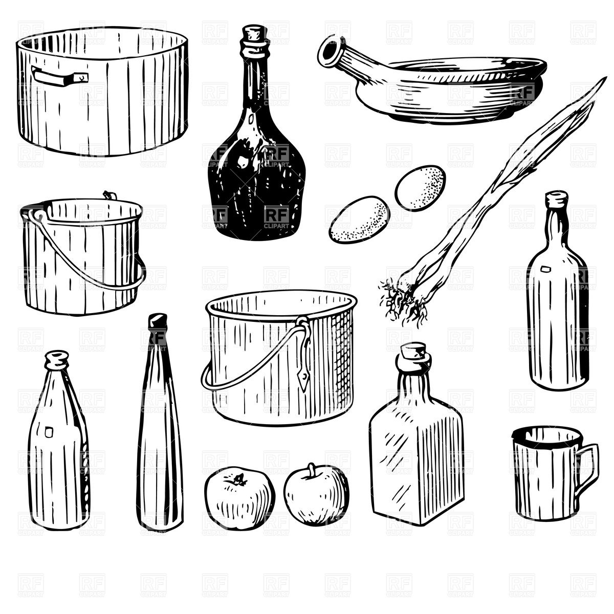 1200x1200 Kitchen tools and utensils Royalty Free Vector Clip Art Image