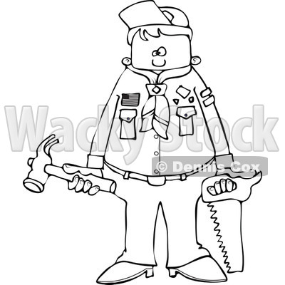 400x400 of an Outlined Scout Boy Holding Tools