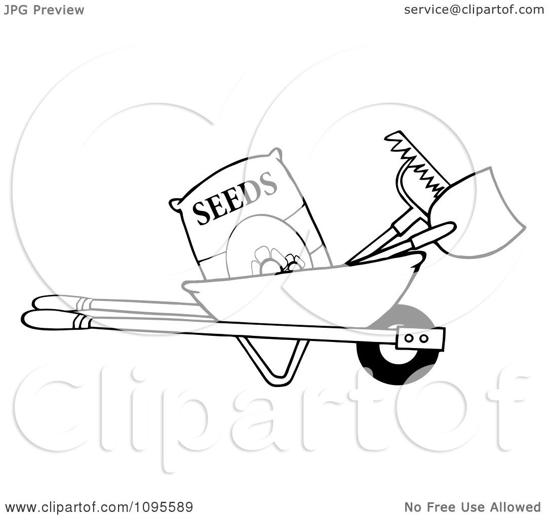 1080x1024 Clipart Outlined Wheelbarrow With Garden Tools And Seeds