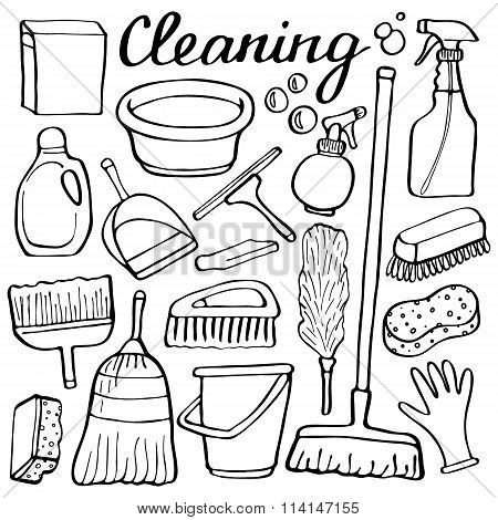 450x470 Cleaning Tools Set. Hand Drawn Vector Amp Photo Bigstock