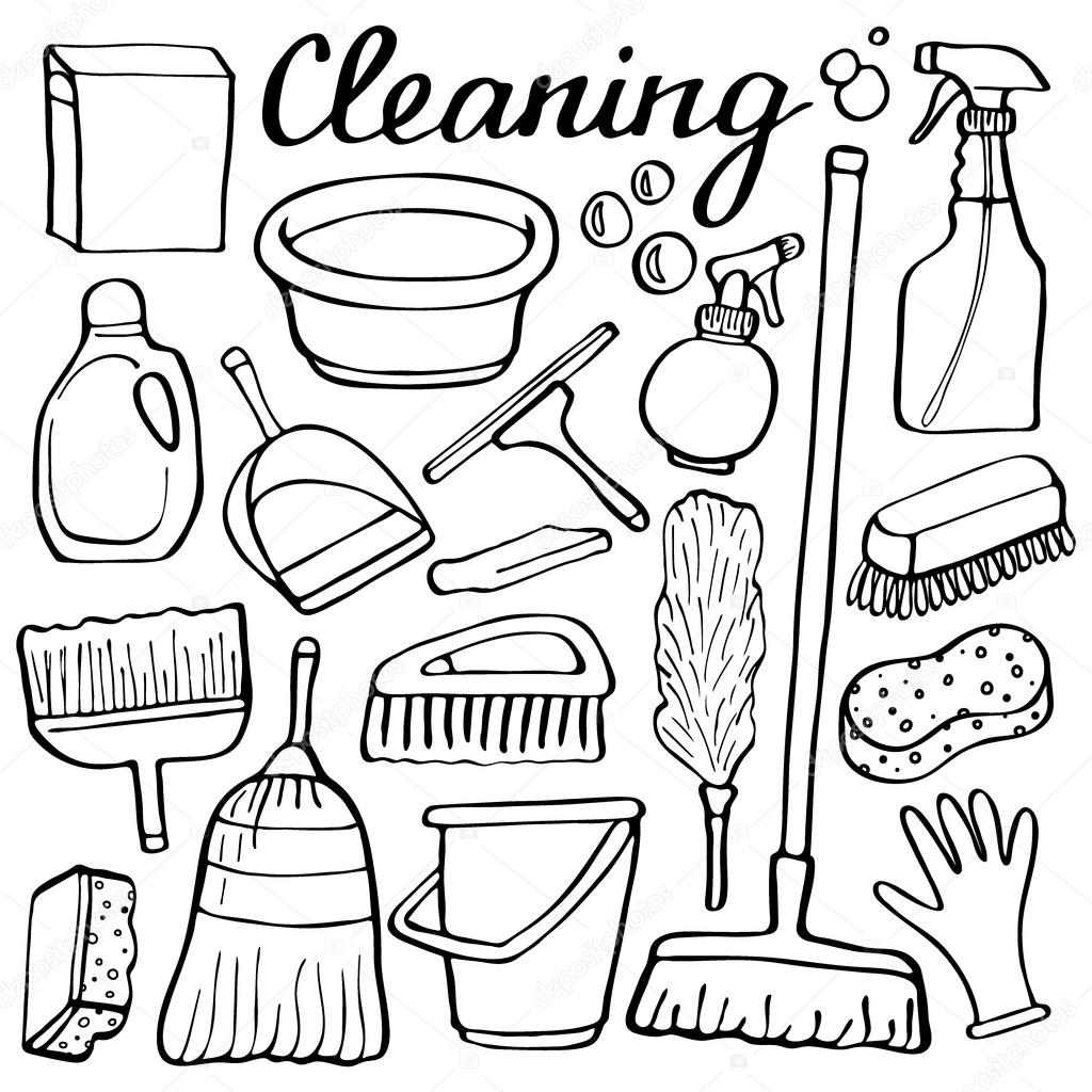 1024x1024 Cleaning Tools Set. Hand Drawn Cartoon Collection Of House