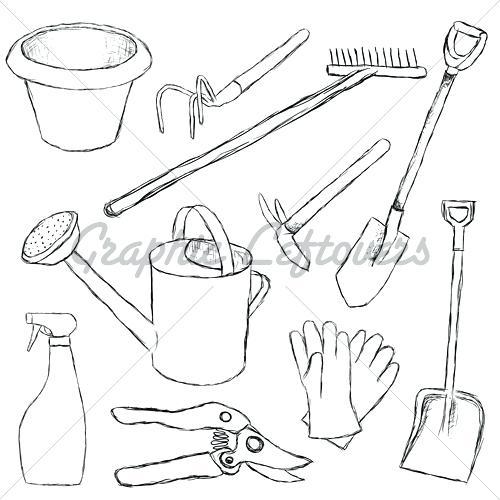 500x500 Drawing Of Garden Tools Drawn Garden Garden Shovel 5 Drawing