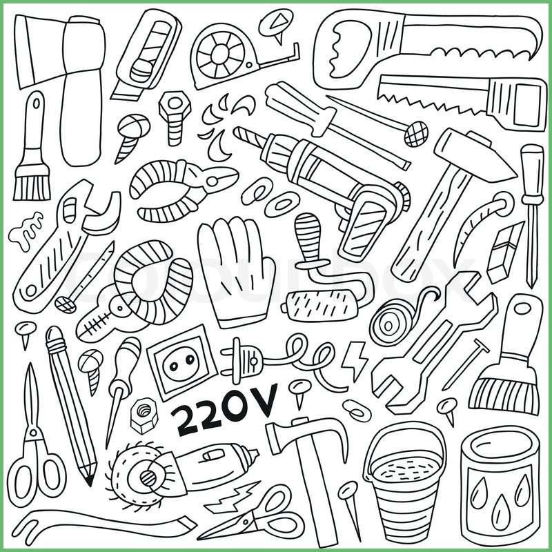 800x800 Fresh Work Tools Doodles Stock Vector Photo Qhh