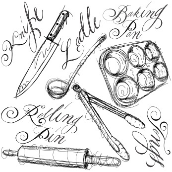 347x346 Plain Kitchen Tools Drawings Of Vector Utensils And Ingredients