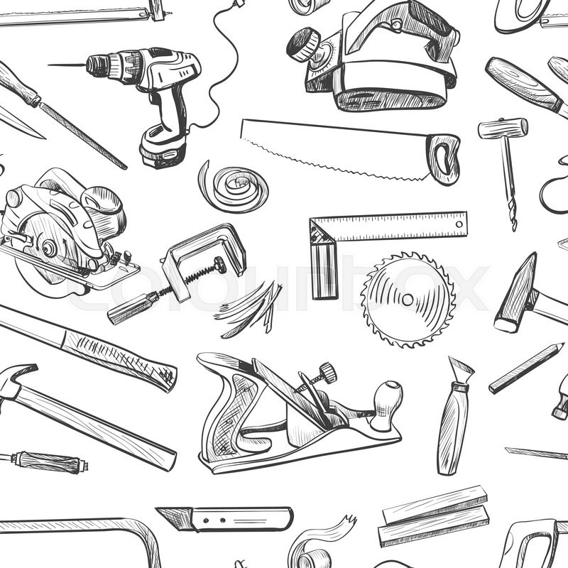 800x800 Vector Seamless Pattern With Hand Drawn Common Hand Tools Used By