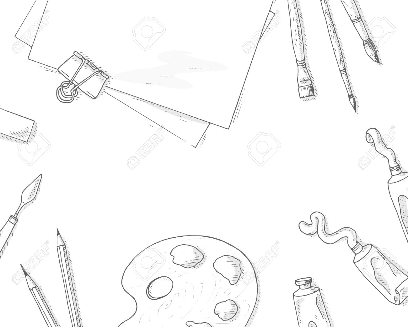 1300x1040 Art Tools Background. Artist Creative Quipment Sketch Brushes