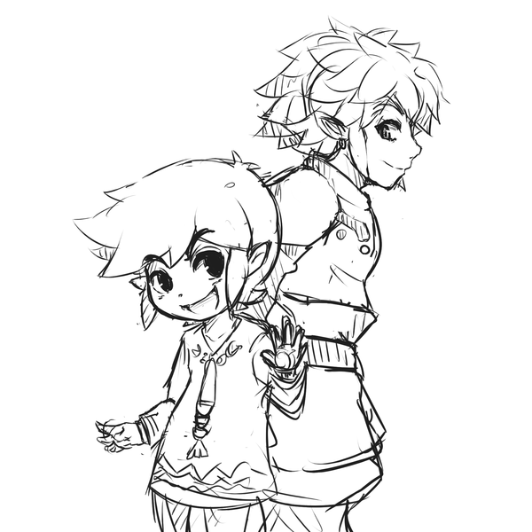 600x600 Link And Toon Link 2 [Sketch] By Chelostracks