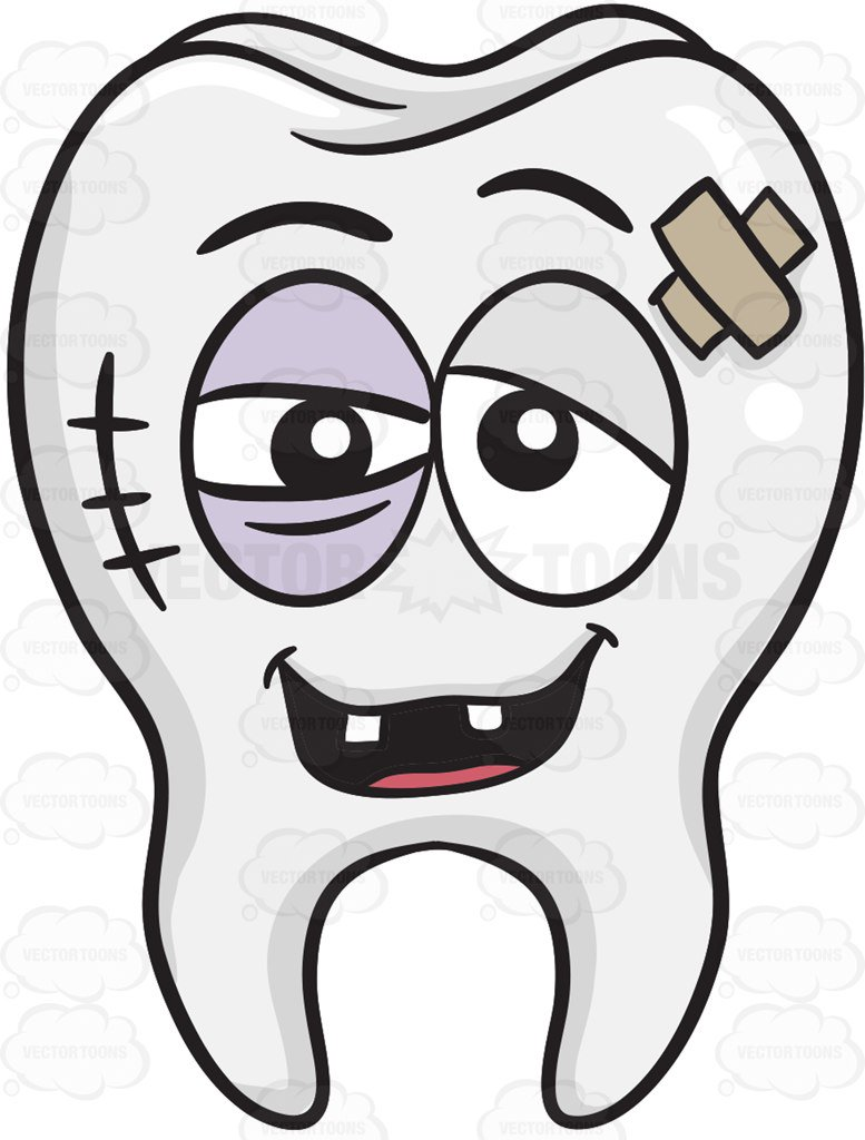 777x1024 Badly Bruised Tooth Cartoon Clipart