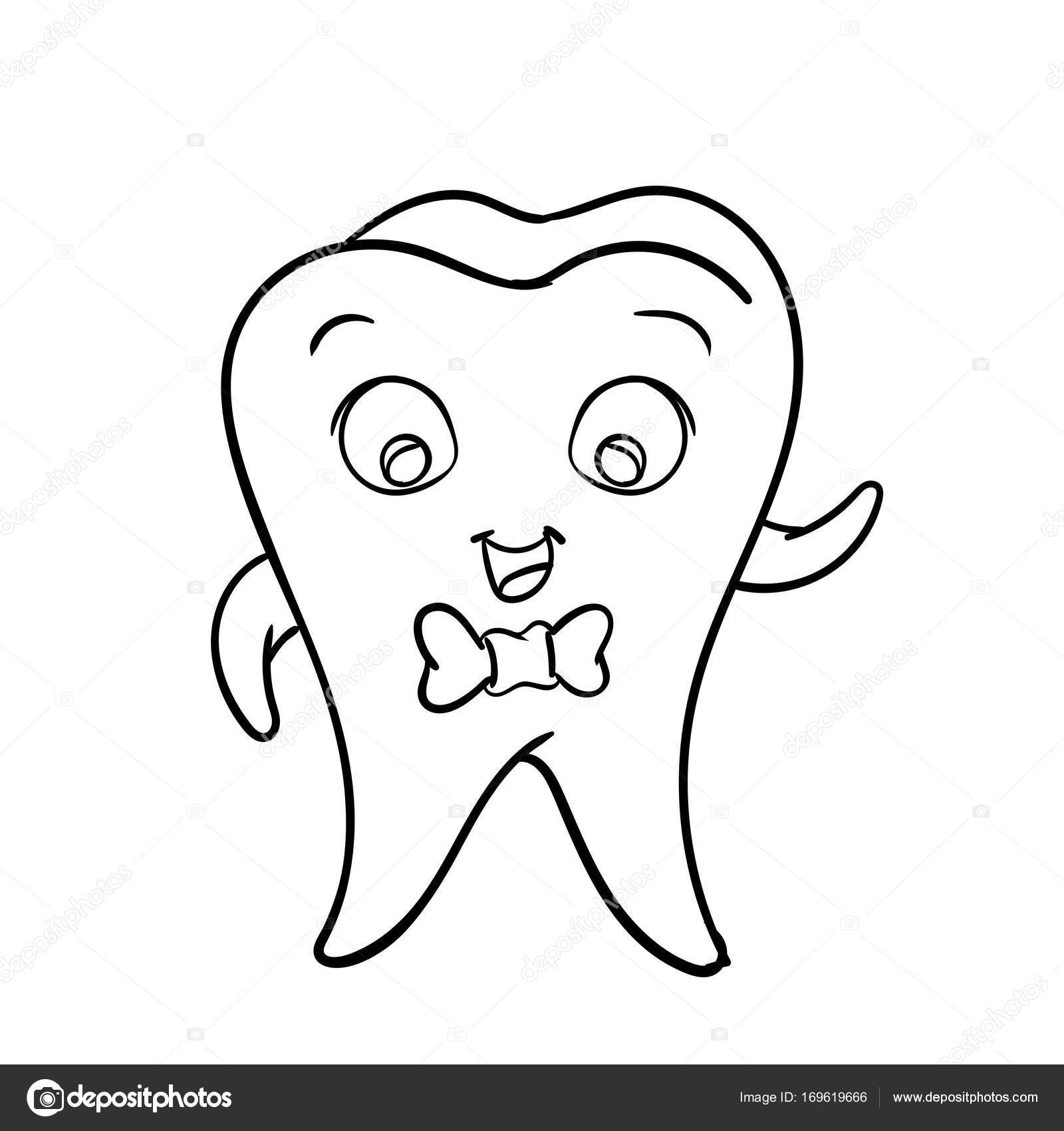 1600x1700 Cartoon Tooth Character Vector Character Design Stock Vector