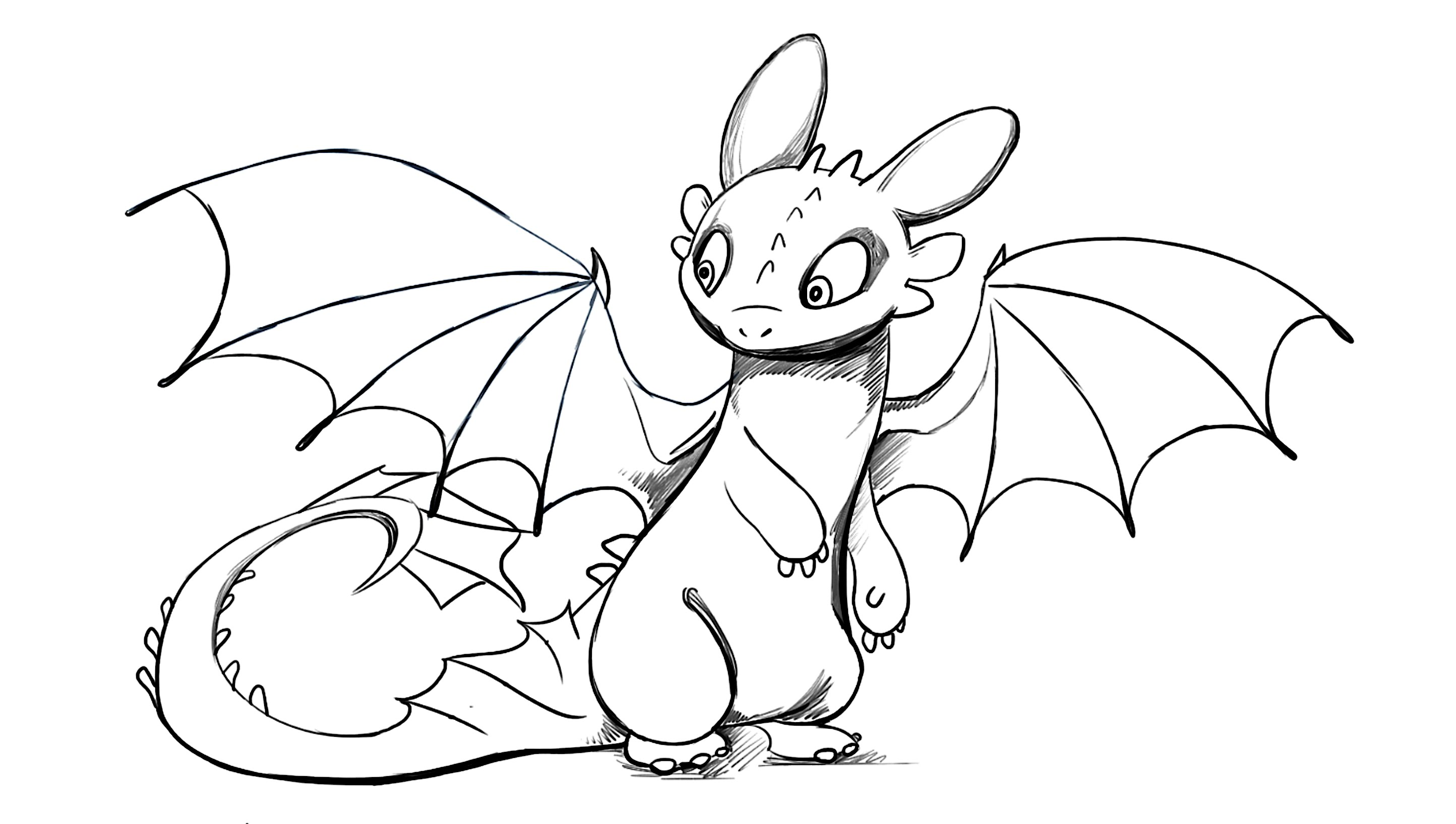 2888x1634 How To Draw Toothless Dragon From How To Train Your Dragon