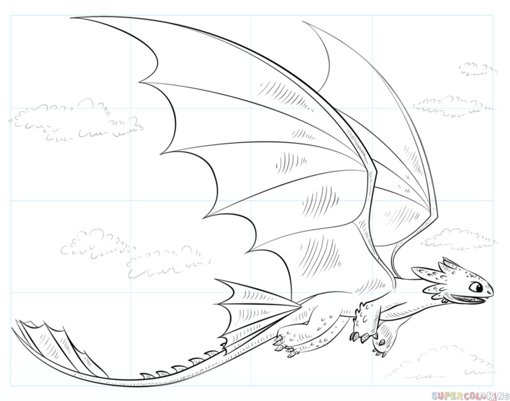 730x575 How To Draw Toothless Flying Step By Step Drawing Tutorials