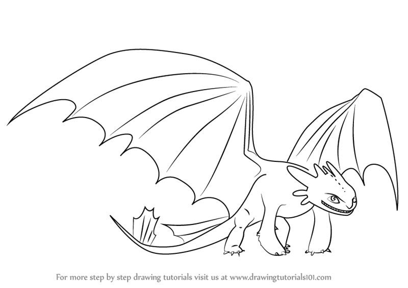 800x566 Learn How Draw Night Fury From How Train Your Dragon (How