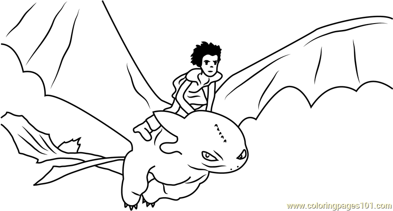 800x430 Hiccup Horrendous Flying With Toothless Coloring Page