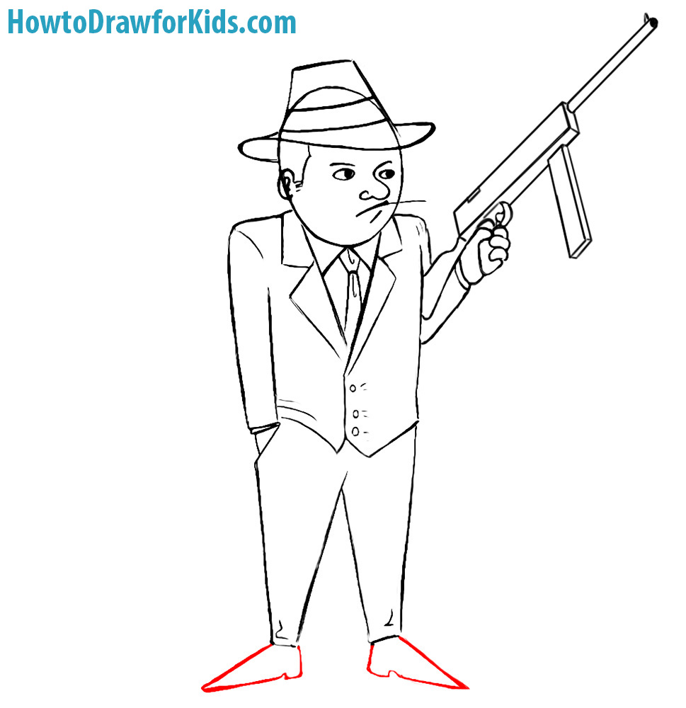 969x1000 How To Draw A Gangster For Kids Howtodrawforkids